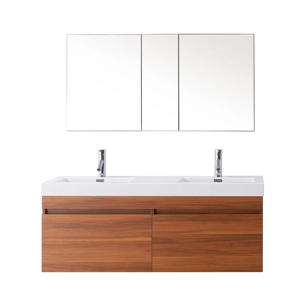 Virtu USA Zuri 55 in. W Double Basin Vanity in Plum with Poly-Marble Vanity Top in White