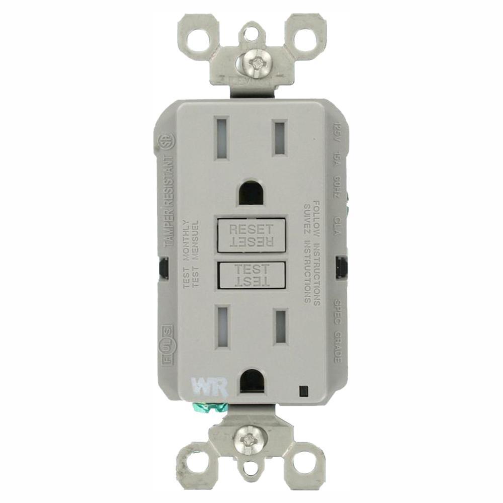 15 Amp 125-Volt Duplex Self-Test Tamper Resistant/Weather Resistant GFCI Outlet, Gray (3-Pack)