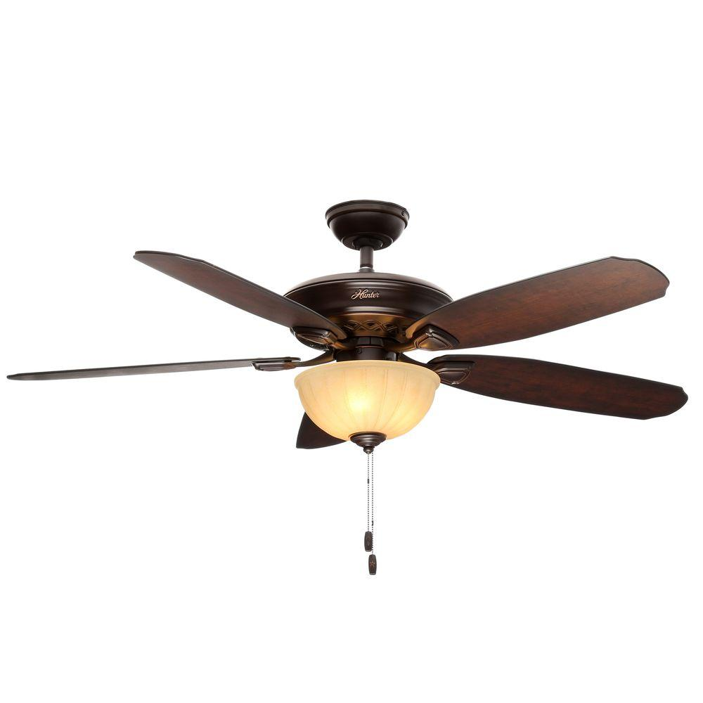 Hunter Markley 56 in. Indoor Onyx Bengal Bronze Ceiling Fan with Light
