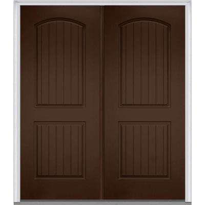 72 in. x 80 in. Classic Right-Hand Inswing 2-Panel Planked Painted Fiberglass Smooth Prehung Front Door with Brickmould