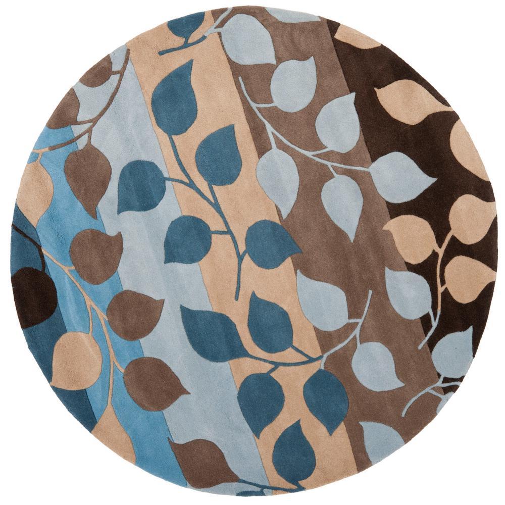 Safavieh Soho Brown Blue 6 Ft X 6 Ft Round Area Rug