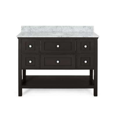Dawson 48 in. W x 22 in. D Bath Vanity with Carrara Marble Vanity Top in Brown with White Basin