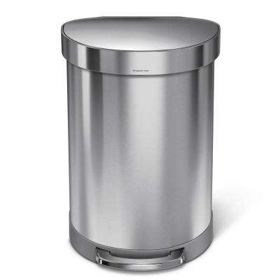 60-Liter Fingerprint-Proof Brushed Stainless Steel Semi-Round Liner Rim Step-On Trash Can