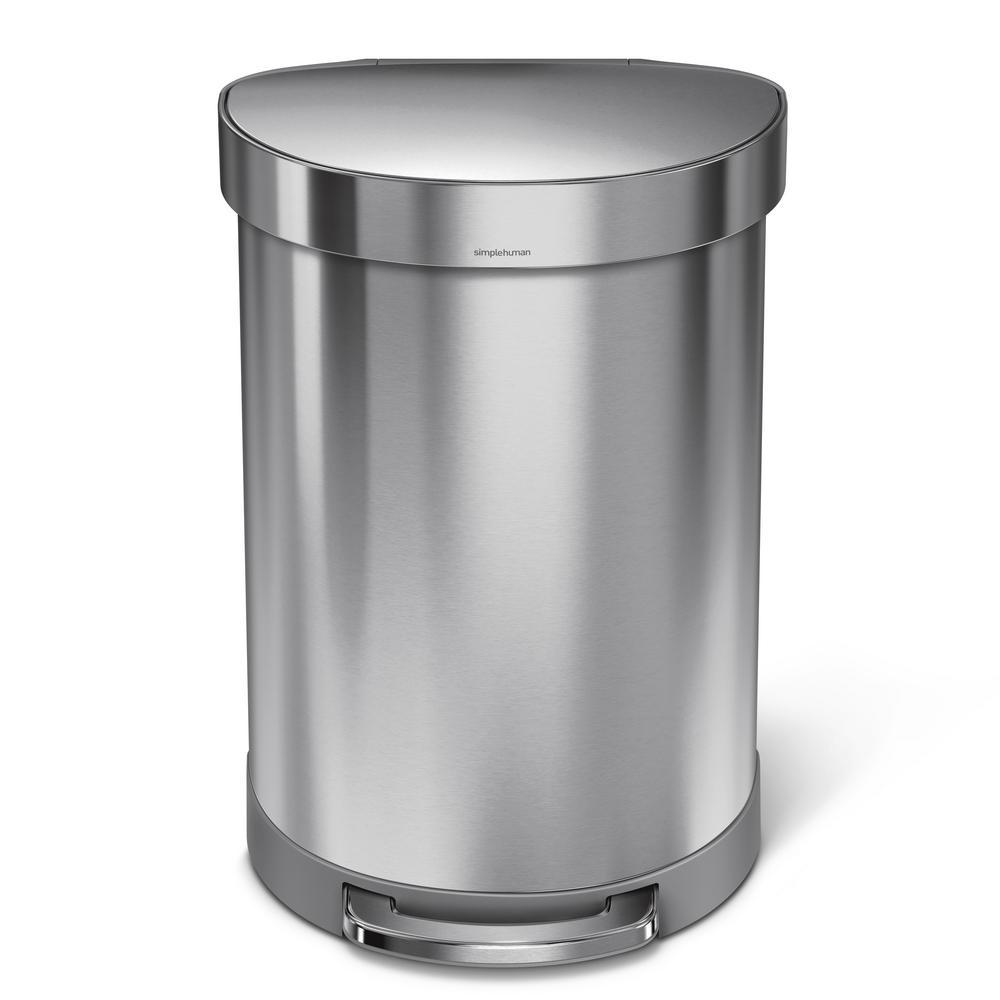 60-Liter Fingerprint-Proof Brushed Stainless Steel Semi-Round Liner Rim Step-On Trash Can