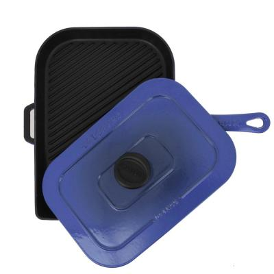 French Enameled 11.5 in. Cast Iron Panini Press in Blue with Lid