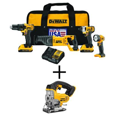 20-Volt MAX Lithium-Ion Cordless Combo Kit (4-Tool) with Bonus 20-Volt Max Lithium-Ion Cordless Jig Saw (Tool-Only)