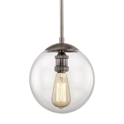 9 in. 1-Light Historic Nickel Globe Pendant with Vintage Bulb Included