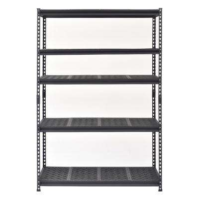 72 in. H x 48 in. W x 18 in. D 5-Shelf Steel and Resin Shelf Commercial Shelving Unit in Black