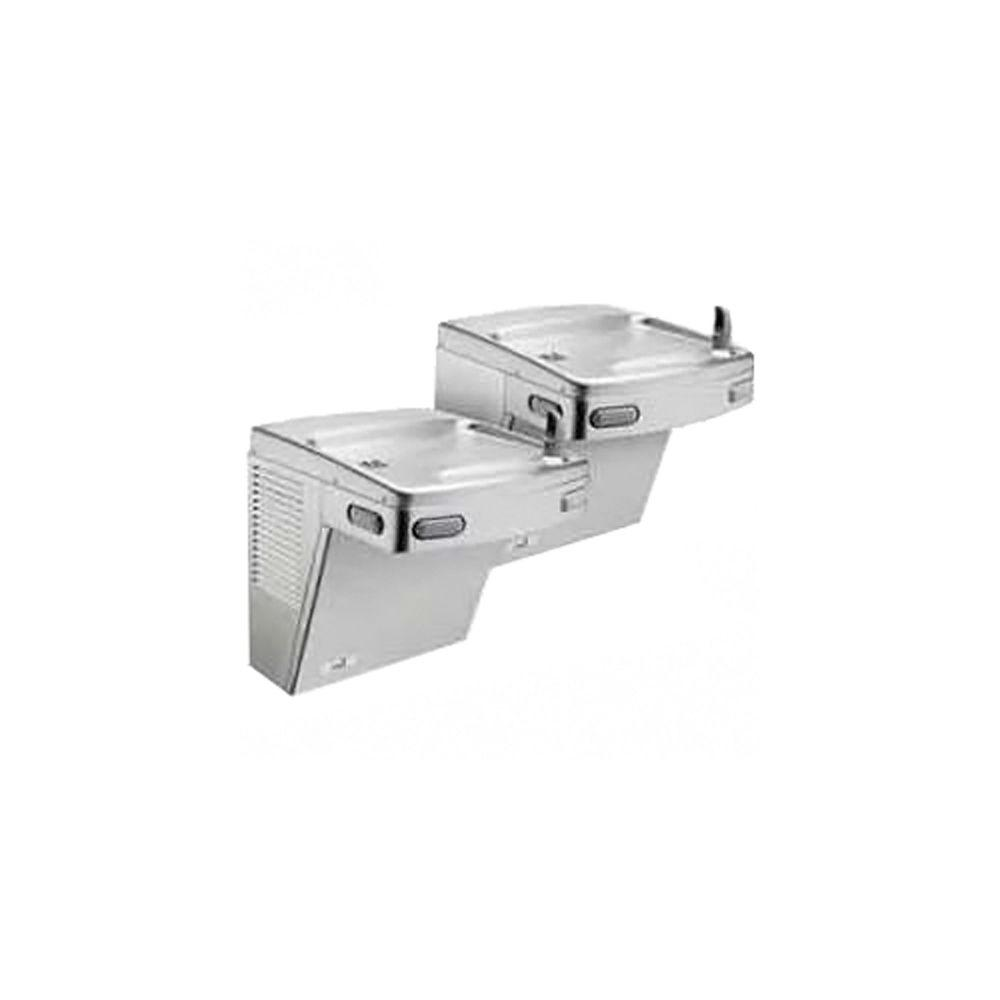 Oasis Barrier-Free Split-Level Versa Cooler II Push-Button Refrigerated Drinking Fountain Faucet in Stainless Steel