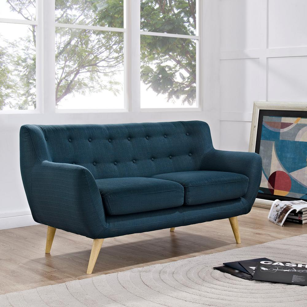 Remark azure upholstered fabric loveseat