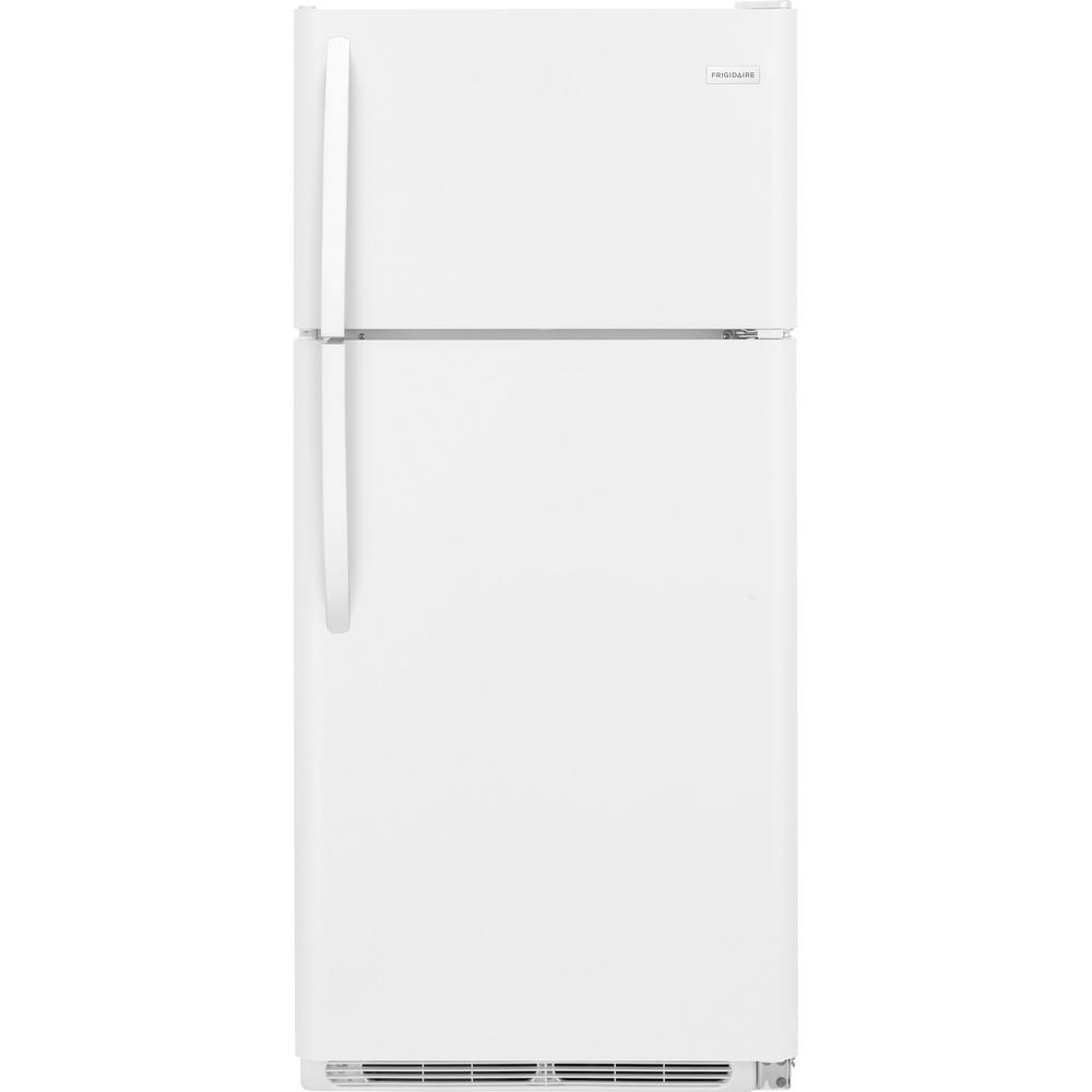 Frigidaire 15 cu. ft. Top Freezer Refrigerator in White The Frigidaire 15 cu. ft. Top Freezer Refrigerator has 3 Full-Width Wire Shelves and Humidity Controlled Crisper Drawers for storing fruits and vegetables in the fresh food section. The large upper freezer has plenty of room for frozen items. Equipped with bright lighting to keep contents clearly visible. Color: White.