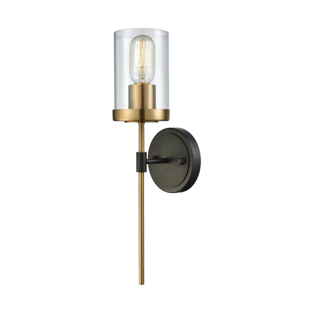 titan lighting north haven 1light oil rubbed bronze with satin brass accents and clear glass the home depot