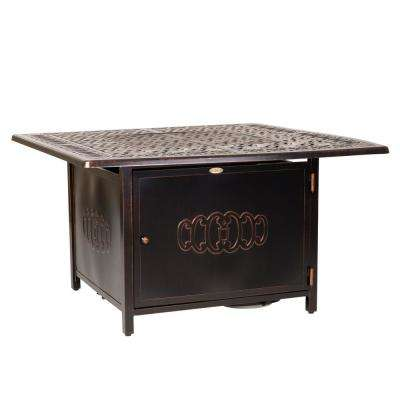 Dynasty 44 in. x 24 in. Square Aluminum Propane Fire Pit Table in Antique Bronze