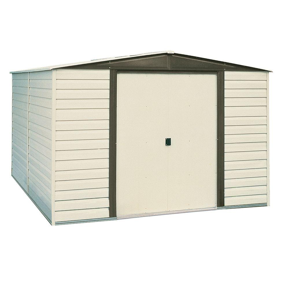 vinyl coated steel storage shed with floor kit vd86fbhd the home depot - Garden Sheds Vinyl