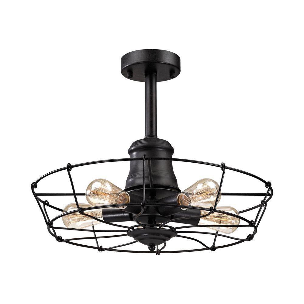 Titan Lighting Glendora 5-Light Wrought Iron Black Semi Flush Mount