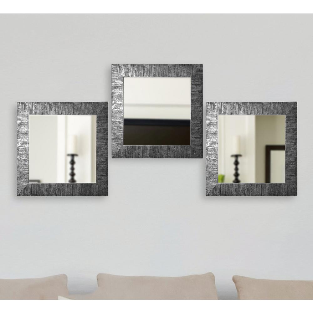19.5 in. x 19.5 in. Safari Silver Square Wall Mirrors (Set