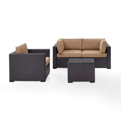 Biscayne 4-Piece Wicker Outdoor Seating Set with Mocha Cushions - 2 Corner Chairs, 1 Arm Chair, 1 Coffee Table