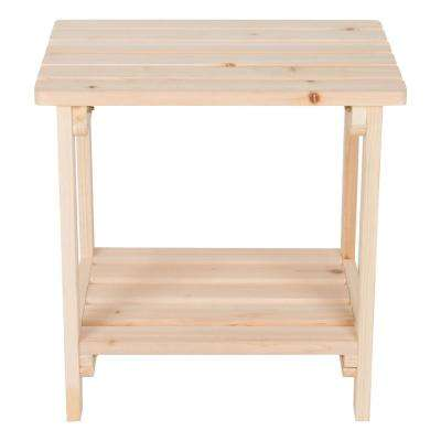 Natural Rectangular Wood Side Table