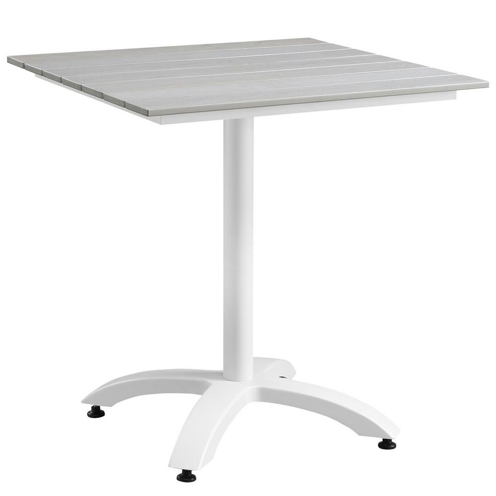 Maine 28 in. Metal Patio Outdoor Dining Table in White Light