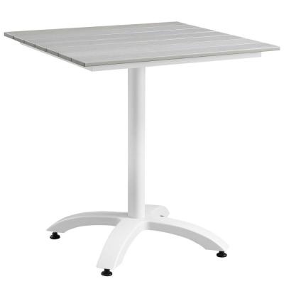 Maine 28 in. Metal Patio Outdoor Dining Table in White Light Gray