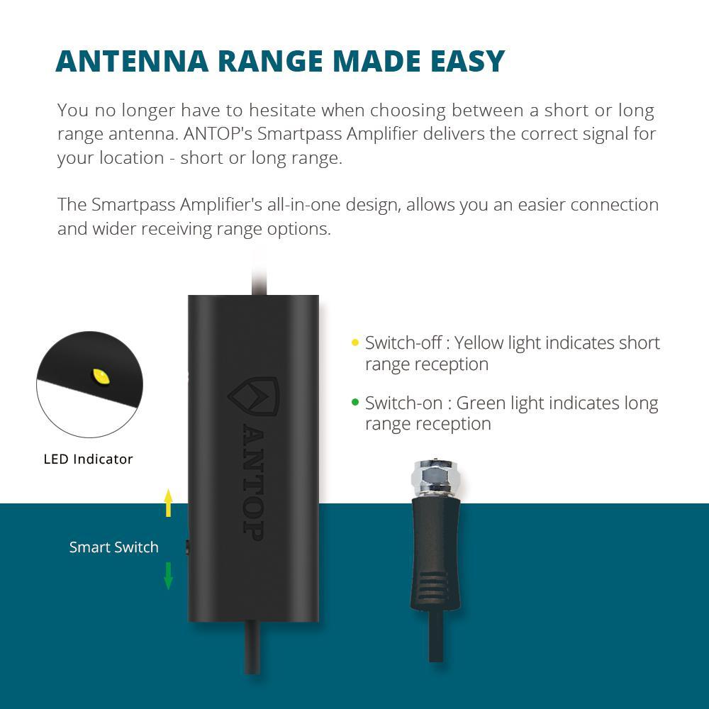 Antop Curved-Panel Indoor HDTV Antenna with Built-In Door Bell
