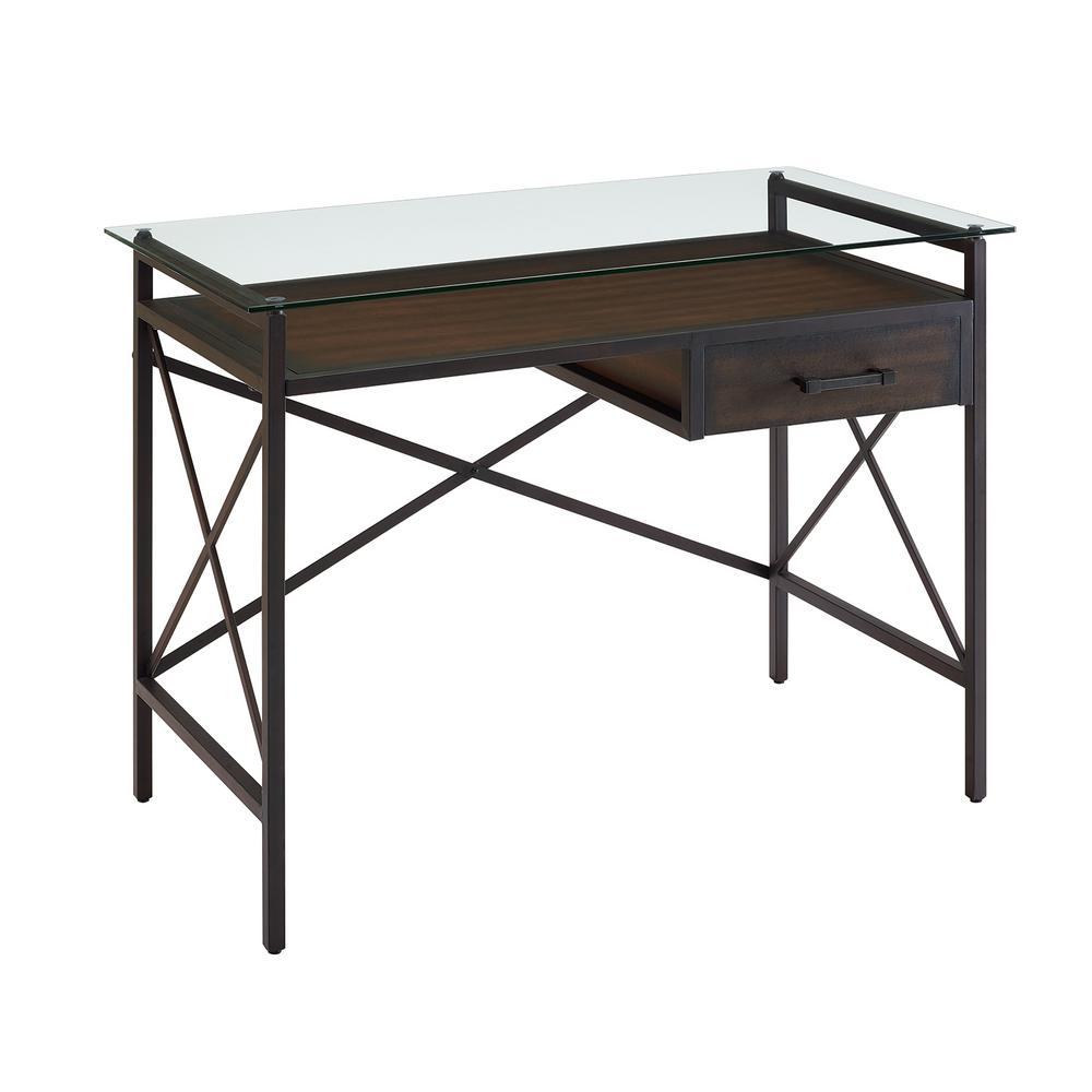 Southern Enterprises Della Aged Walnut Writing Desk with Glass Top HD530604
