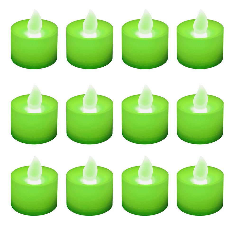 Green Led Tealights Box Of 12
