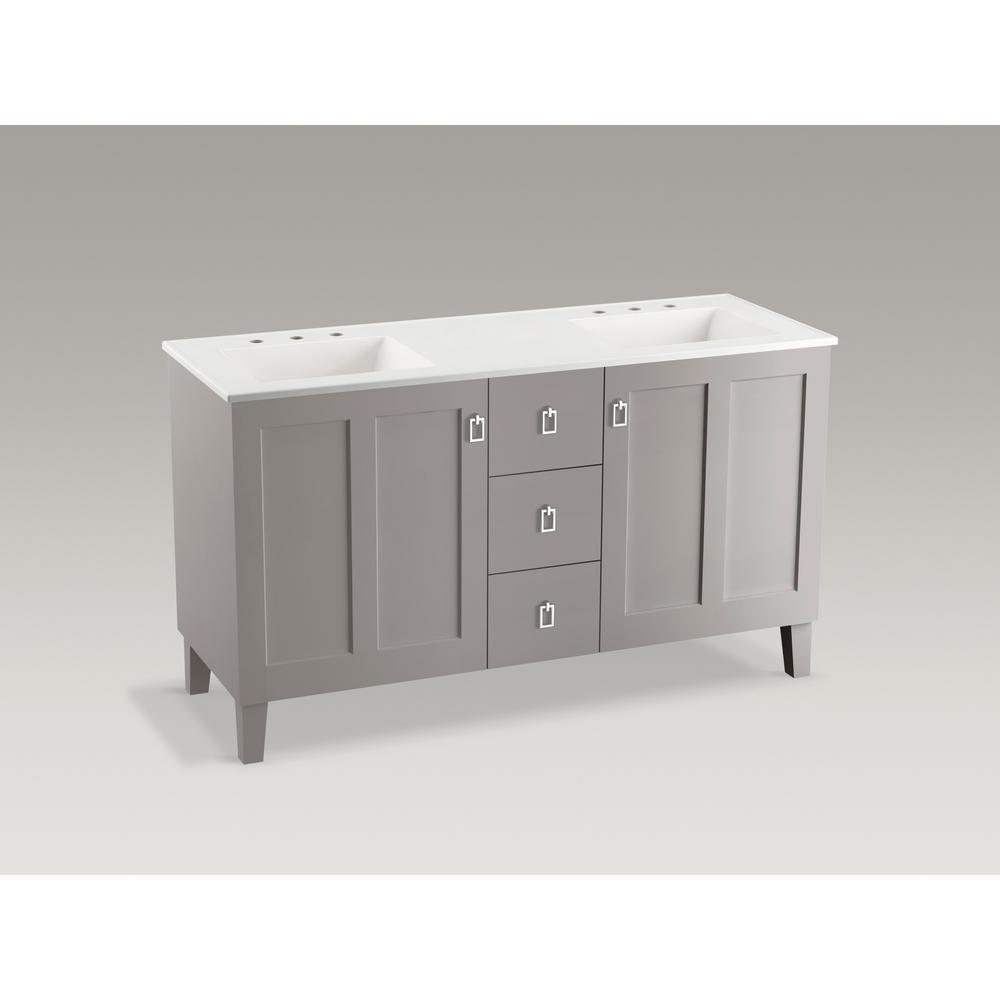 KOHLER Poplin 60 in. W Vanity in Mohair Grey with Marble Vanity Top in Carrara and White Basins
