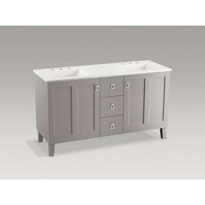 Poplin 60 in. W Vanity in Mohair Grey with Marble Vanity Top in Carrara and White Basins