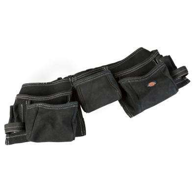11-Pocket Leather Tool Belt Pouch Apron in Black