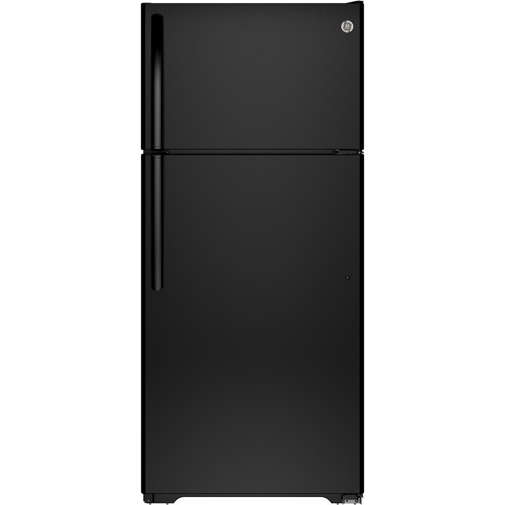 GE 15.5 cu. ft. Top Freezer Refrigerator in Black