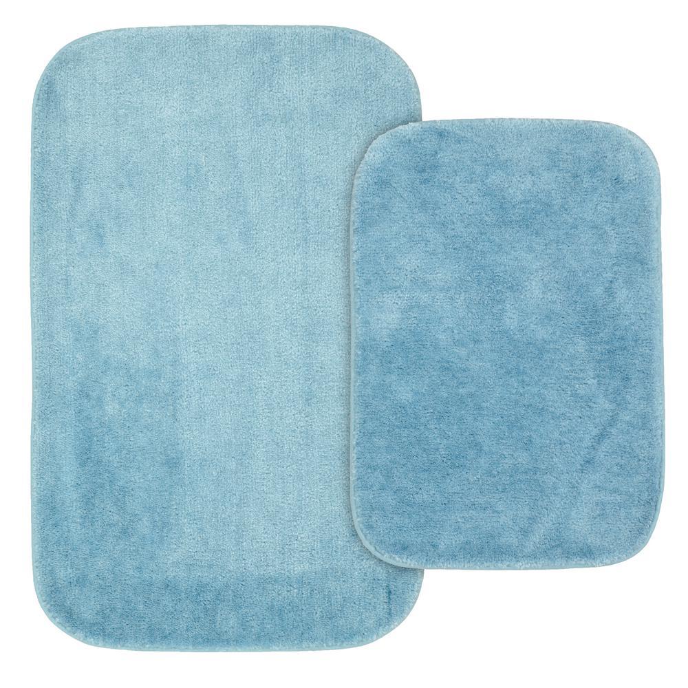 Traditional 2 Piece Washable Bathroom Rug Set in Basin Blue