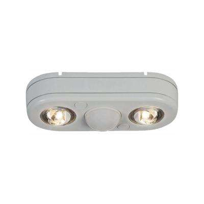 Revolve 180-Degree White Twin Head Motion Activated Outdoor Integrated LED Security Flood Light at 3500K Bright White