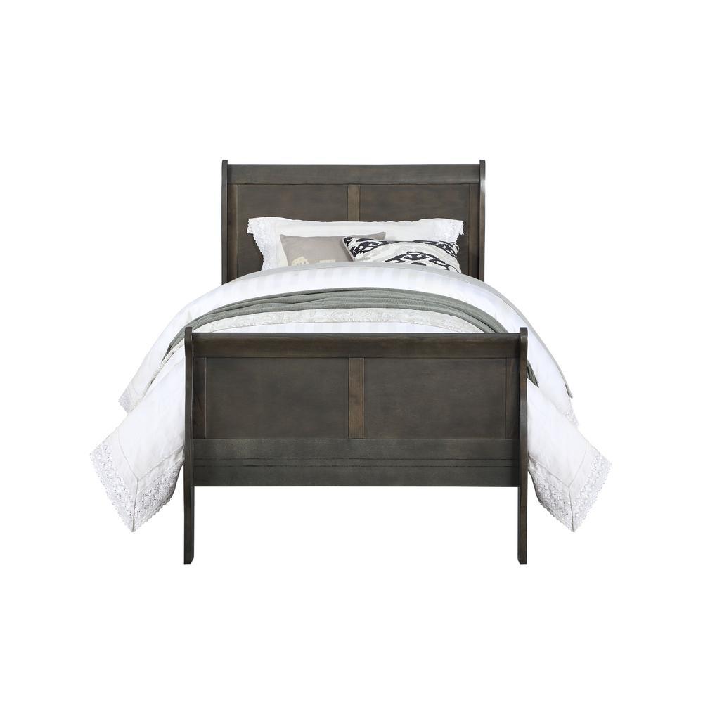 Acme Furniture Louis Philippe Dark Gray Twin Bed