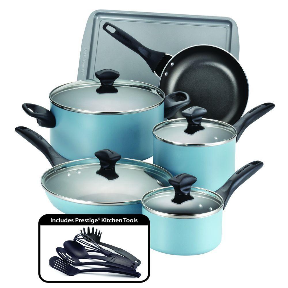 Dishwasher Safe 15-Piece Aluminum Nonstick Cookware Set in Aqua