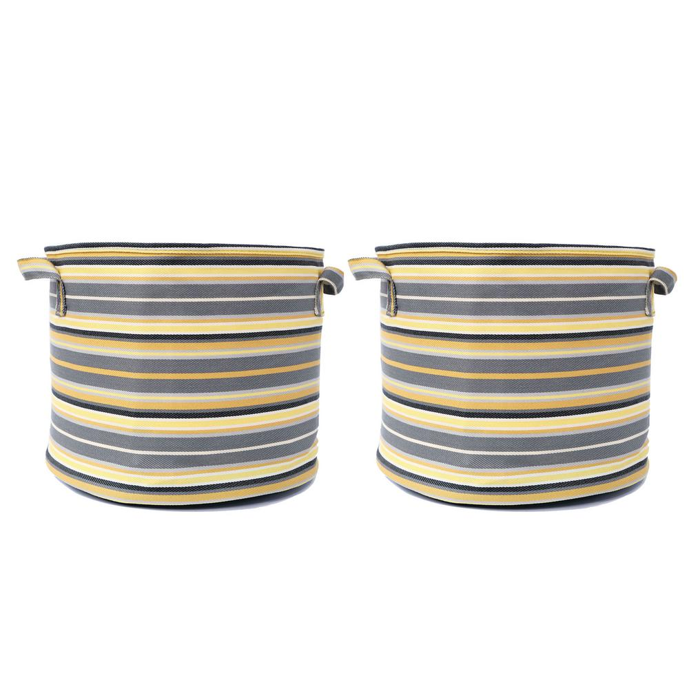MPG 12 in. Dia Yellow Multi-Color Fabric Planter with Liner (2-Pack)