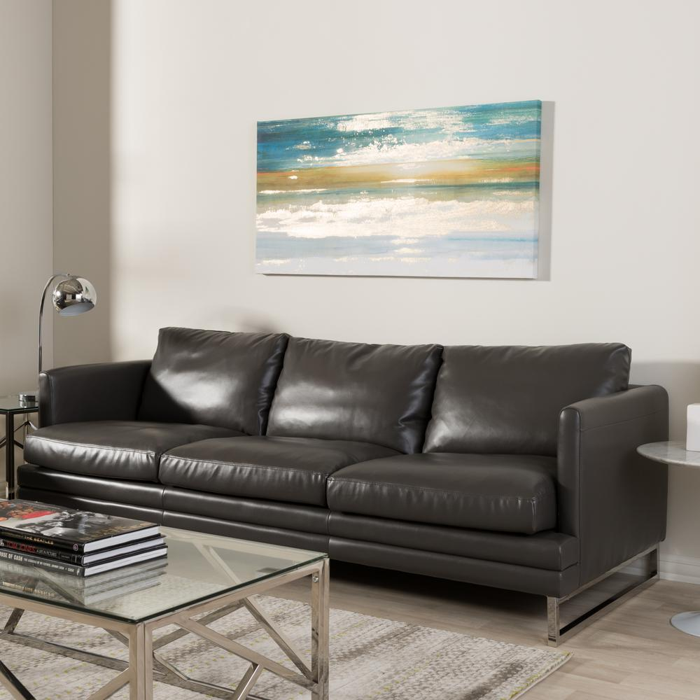 Modern Dark Gray Faux Leather Upholstered Sofa