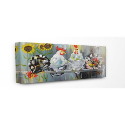 "13 in. x 30 in. ""Farm Chickens Ruffled Feathers and Sunflowers Painting""by Artist Stephanie Aguilar Canvas Wall Art"