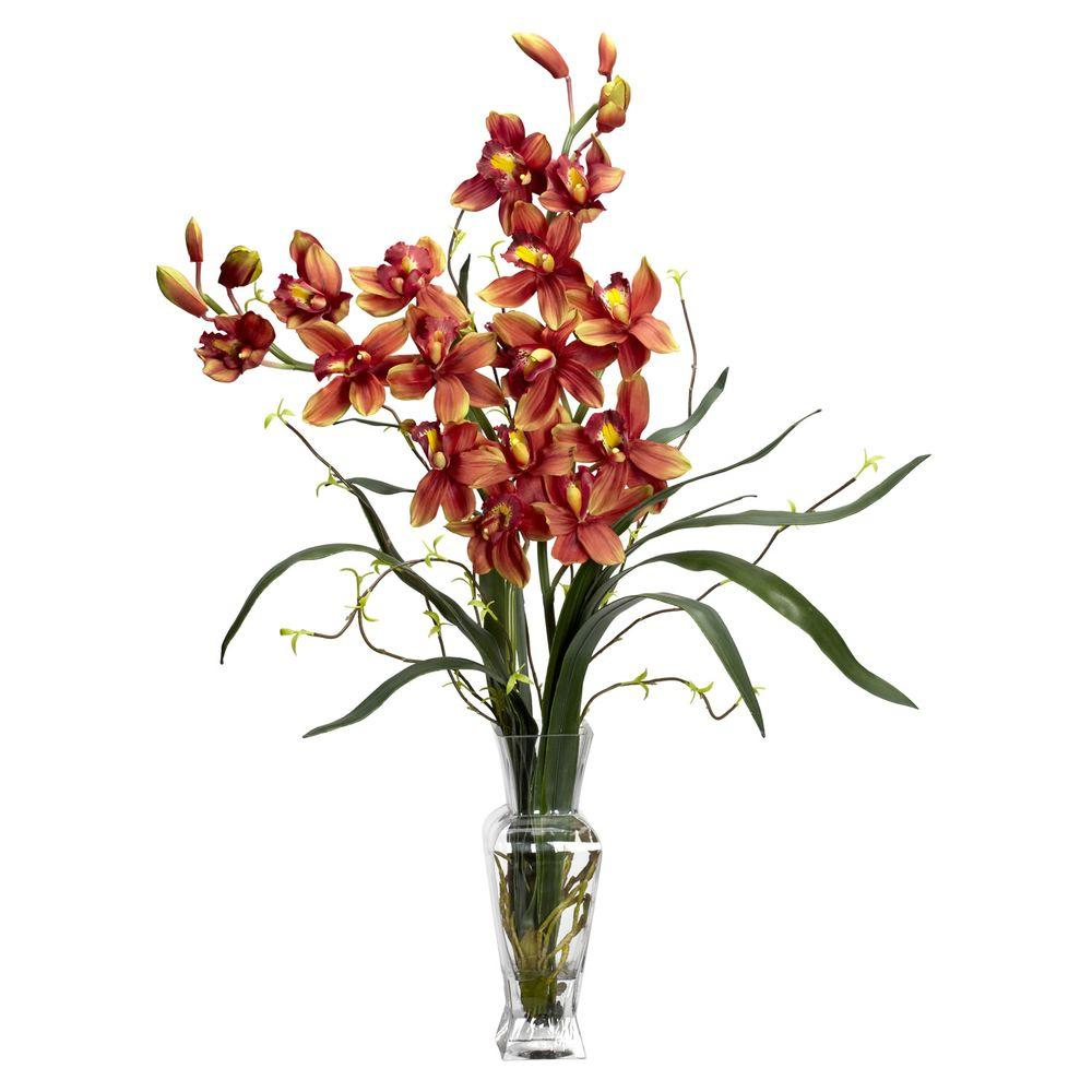 NEARLY NATURAL 30 in. H Burgundy Cymbidium Silk Flower Arrangement NEARLY NATURAL 30 in. H Burgundy Cymbidium Silk Flower Arrangement