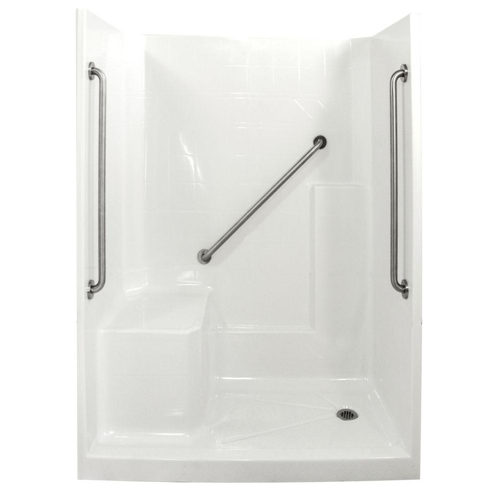 Ella Standard Plus 36 33 in. x 60 in. x 77 in. Low Threshold Shower Kit in White with Left Side Seat Position