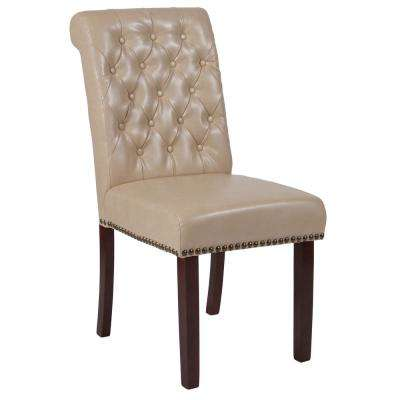 Hercules Beige Leather Parsons Chair
