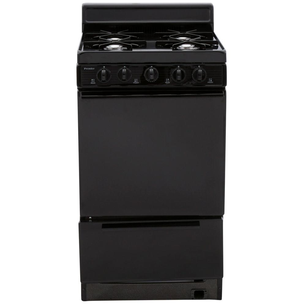 Premier 20 in. 2.42 cu. ft. Battery Spark Ignition Gas Range in Black