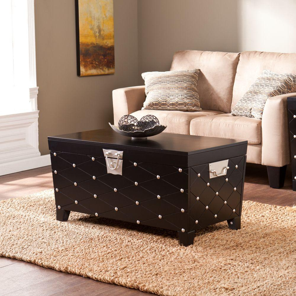 Classic coffee tables accent tables the home depot nailhead black coffee table geotapseo Gallery
