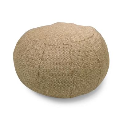 Natural Woven Round Outdoor Pouf
