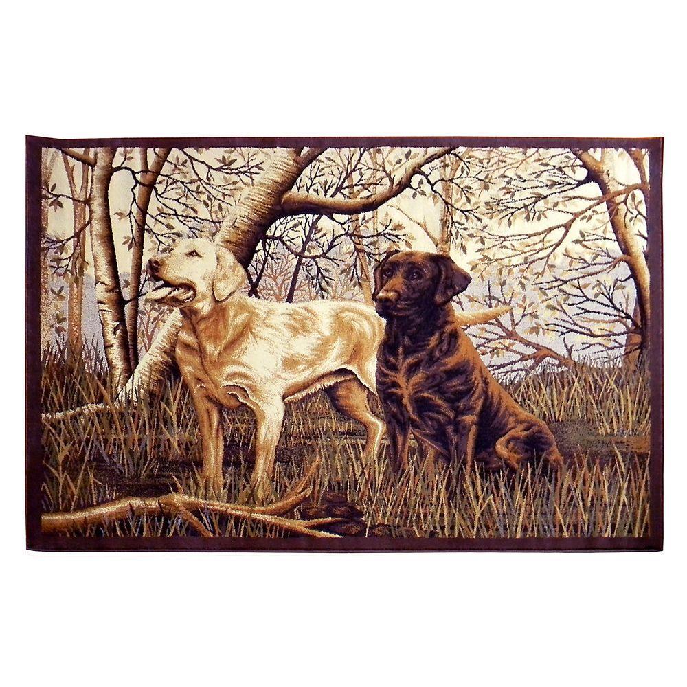 Wilderness Design Beige Two Labrador Dogs in Woods 5 ft. 2 in. x 7 ft. 1.5 in. Indoor Area Rug