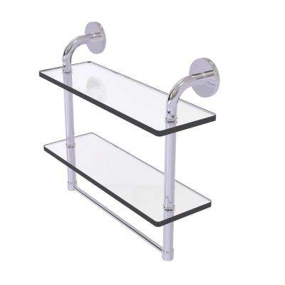 Remi Collection 16 in. 2-Tiered Glass Shelf with Integrated Towel Bar in Polished Chrome