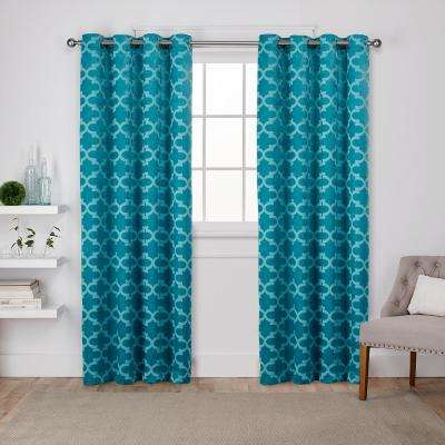 Cartago 54 in. W x 96 in. L Woven Blackout Grommet Top Curtain Panel in Teal (2 Panels)
