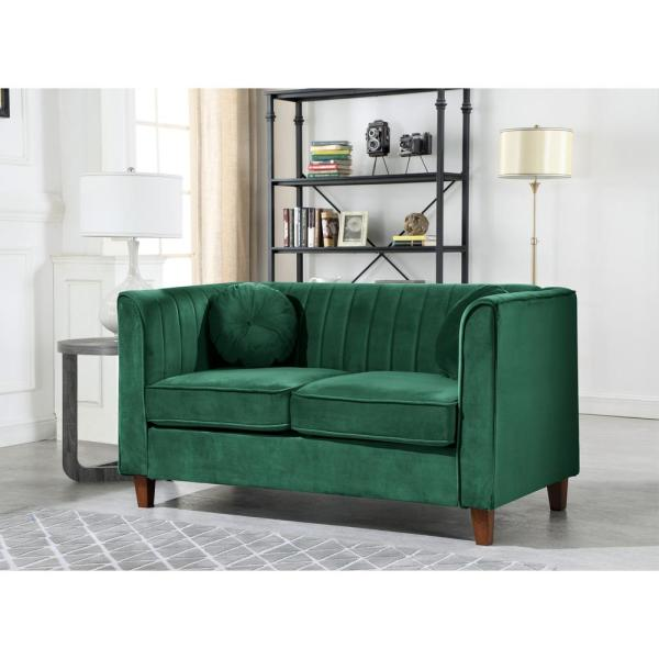 Us Pride Furniture Lowery Kitts 55 In Green Velvet 2 Seater Chesterfield Loveseat With Square Arms S5532 L The Home Depot
