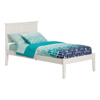 Madison White Twin Platform Bed with Open Foot Board