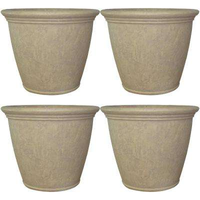 Anjelica 24 in. Grey Poly Outdoor Flower Pot Planter (4-Pack)